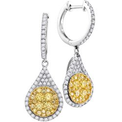 1 & 5/8 CTW Womens Round Yellow Diamond Teardrop Dangle Earrings 14kt White Gold - REF-167H7R