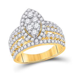 1 & 3/4 CTW Womens Round Diamond Marquise-shape Cluster Ring 14kt Yellow Gold - REF-146R6X