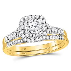 1/2 CTW Round Diamond Bridal Wedding Ring 14kt Yellow Gold - REF-85Y4N