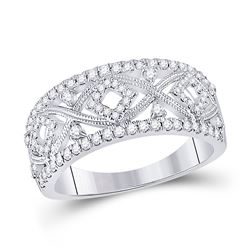 1/2 CTW Womens Round Diamond Filigree Geometric Band Ring 14kt White Gold - REF-94F3W