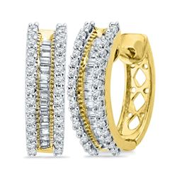 1/2 CTW Womens Round Baguette Diamond Hoop Earrings 10kt Yellow Gold - REF-51N8A