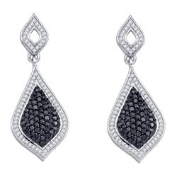 2 CTW Womens Round Black Color Enhanced Diamond Dangle Earrings 10kt White Gold - REF-74M9F