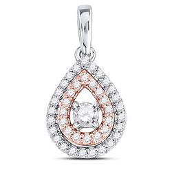 1/4 CTW Womens Round Diamond Teardrop Solitaire Pendant 10kt Two-tone Gold - REF-24T5V