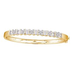 2 CTW Womens Round Diamond Bangle Bracelet 14kt Yellow Gold - REF-245H4R