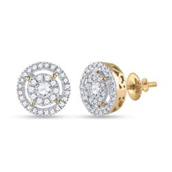 1/2 CTW Womens Round Diamond Cluster Earrings 14kt Yellow Gold - REF-54T5V