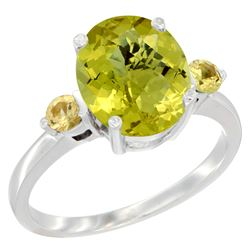 2.64 CTW Lemon Quartz & Yellow Sapphire Ring 10K White Gold - REF-23W7F