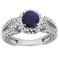 1.55 CTW Blue Sapphire & Diamond Ring 14K White Gold - REF-118A3X