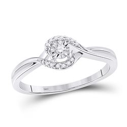 1/10 CTW Womens Round Diamond Solitaire Promise Ring 10kt White Gold - REF-16N4A