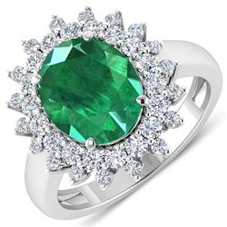 Natural 3.93 CTW Zambian Emerald & Diamond Ring 14K White Gold - REF-169H5T