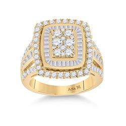 1 & 7/8 CTW Womens Round Diamond Cluster Ring 14kt Yellow Gold - REF-173Y9N