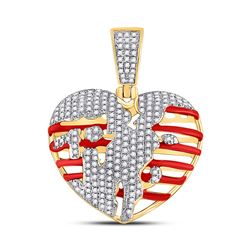 5/8 CTW Mens Round Diamond Heart Charm Pendant 10kt Yellow Gold - REF-53N3A