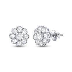 3/4 CTW Womens Round Diamond Cluster Earrings 14kt White Gold - REF-61H4R