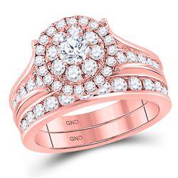 1 & 3/4 CTW Round Diamond Bridal Wedding Ring 14kt Rose Gold - REF-214R8X