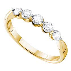 1/2 CTW Womens Round Diamond 5-stone Fashion Band Ring 14kt Yellow Gold - REF-56V6Y