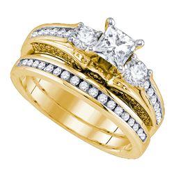 1 & 1/4 CTW Princess Diamond Bridal Wedding Ring 14kt Yellow Gold - REF-228X3T