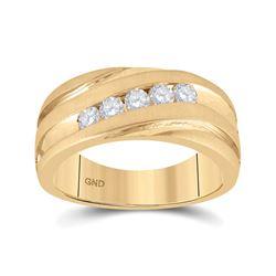 1/2 CTW Mens Round Diamond Diagonal Wedding Band Ring 10kt Yellow Gold - REF-99W2H