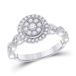 1/2 CTW Womens Round Diamond Cluster Ring 14kt White Gold - REF-58H2R