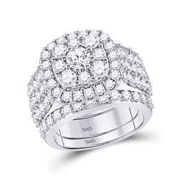 3 & 3/4 CTW Round Diamond Bridal Wedding Ring 14kt White Gold - REF-340A8M