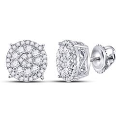 1/2 CTW Womens Round Diamond Circle Cluster Earrings 10kt White Gold - REF-37F5W