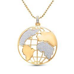 3/4 CTW Mens Round Diamond Globe World Charm Pendant 10kt Yellow Gold - REF-69A5M
