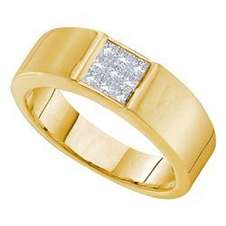 1/2 CTW Princess Diamond Mens Wedding Anniversary Band Ring 14k Yellow Gold - REF-70F3W