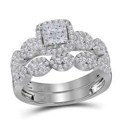 1 CTW Princess Diamond Bridal Wedding Ring 14kt White Gold - REF-102N3A