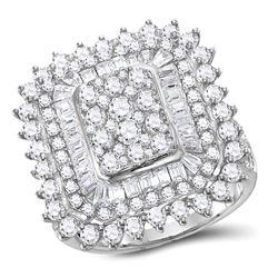 3 & 1/2 CTW Womens Round Diamond Square Cluster Ring 10kt White Gold - REF-218T2V