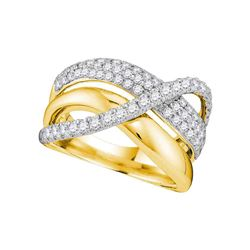 1 CTW Womens Round Diamond Triple Row Crossover Strand Band Ring 14kt Yellow Gold - REF-109H2R