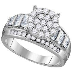 1 CTW Round Diamond Cluster Bridal Wedding Engagement Ring 10kt White Gold - REF-72M8F