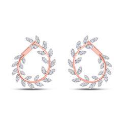 1 CTW Womens Round Diamond Twist Vine Hoop Earrings 14kt Rose Gold - REF-95T5V