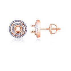 0.14 CTW Diamond Earrings 14K Rose Gold - REF-19F9N