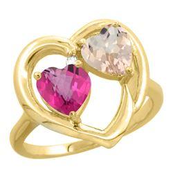 1.91 CTW Diamond, Pink Topaz & Morganite Ring 10K Yellow Gold - REF-26V5R