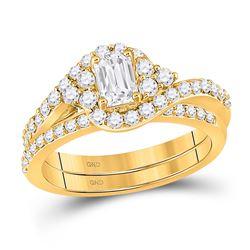 1 & 1/4 CTW Emerald Diamond Bridal Wedding Ring 14kt Yellow Gold - REF-204W5H