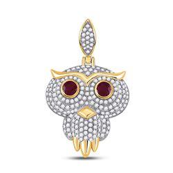 2 & 5/8 CTW Mens Round Ruby Diamond Owl Bird Charm Pendant 14kt Yellow Gold - REF-156X7T