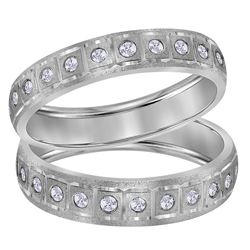 1/4 CTW His Hers Round Diamond Matching Wedding Band Ring 14kt White Gold - REF-54Y5N