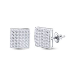 1 & 1/2 CTW Womens Princess Diamond Square Earrings 14kt White Gold - REF-98F2W