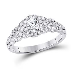 1 CTW Oval Diamond Solitaire Bridal Wedding Engagement Ring 14kt White Gold - REF-129Y5N
