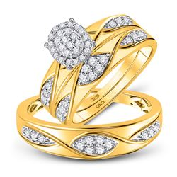 1/2 CTW His Hers Round Diamond Oval Matching Wedding Set 10kt Yellow Gold - REF-54V5Y