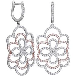 1 & 3/4 CTW Womens Round Diamond Ripple Dangle Earrings 18kt Two-tone Gold - REF-238W5H