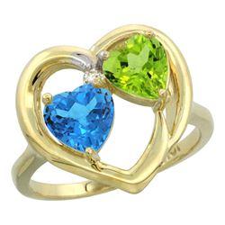 2.61 CTW Diamond, Swiss Blue Topaz & Peridot Ring 14K Yellow Gold - REF-33Y9V