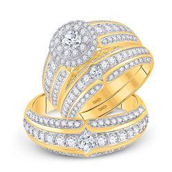 2 & 1/3 CTW His Hers Round Diamond Halo Matching Wedding Set 14kt Yellow Gold - REF-248F7W