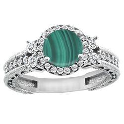 1.46 CTW Malachite & Diamond Ring 14K White Gold - REF-76X9M