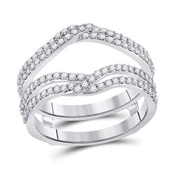 3/4 CTW Womens Round Diamond Wedding Wrap Ring 14kt White Gold - REF-85N3A