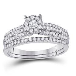 1/2 CTW Round Diamond Bridal Wedding Ring 14kt White Gold - REF-54A5M