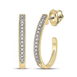 0.03 CTW Womens Round Diamond Half J Hoop Earrings 10kt Yellow Gold - REF-12W2H