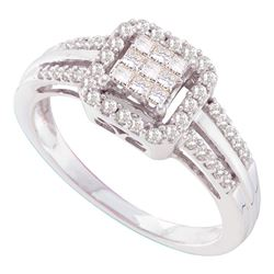 1/2 CTW Womens Princess Diamond Square Cluster Ring 14kt White Gold - REF-58Y5N