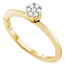 1/8 CTW Womens Round Diamond Flower Cluster Ring 10kt Yellow Gold - REF-18F5W