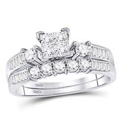 7/8 CTW Princess Diamond Bridal Wedding Ring Band Set 10kt White Gold - REF-63W3H