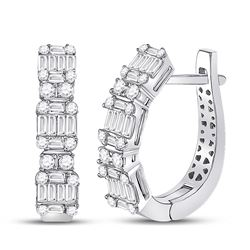 1 CTW Womens Baguette Diamond Fashion Hoop Earrings 14kt White Gold - REF-122X6T