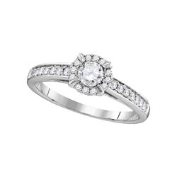 5/8 CTW Round Diamond Solitaire Bridal Wedding Engagement Ring 14kt White Gold - REF-117Y8N